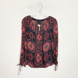 Lucky Brand | paisley print long sleeve blouse S
